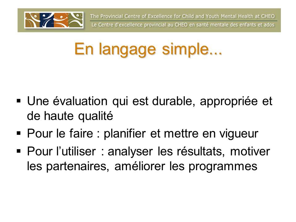 En langage simple... Une évaluation qui est durable, appropriée et de haute qualité. Pour le faire : planifier et mettre en vigueur.