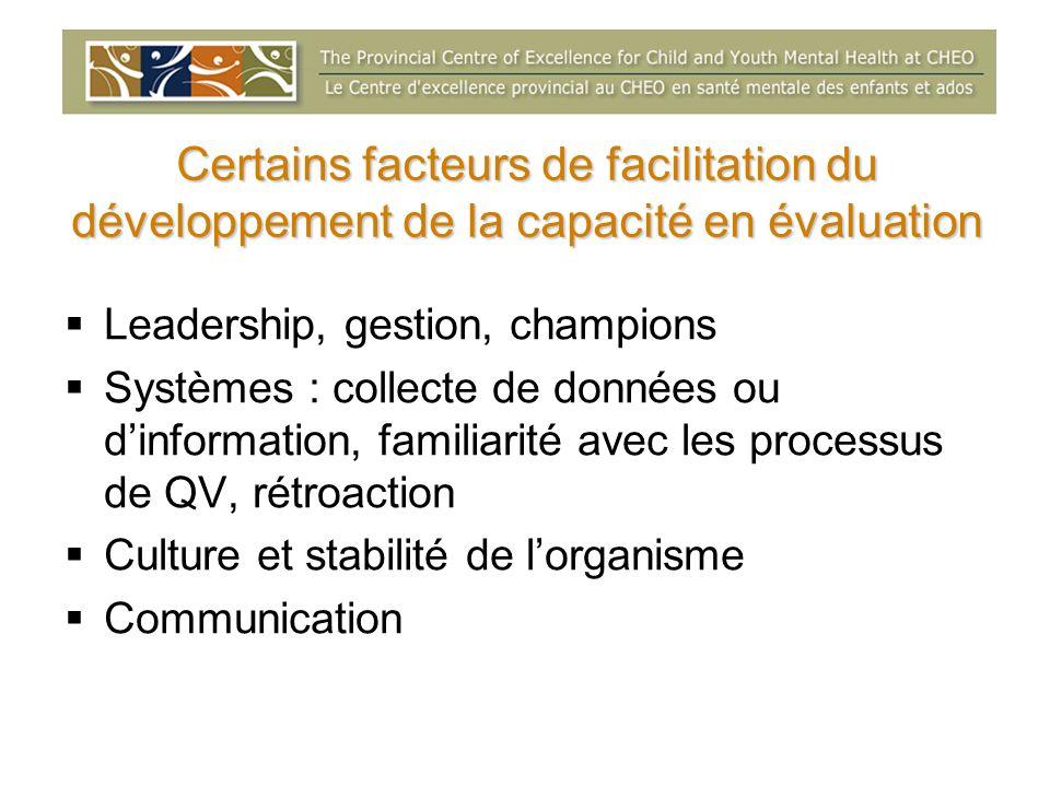 Certains facteurs de facilitation du développement de la capacité en évaluation