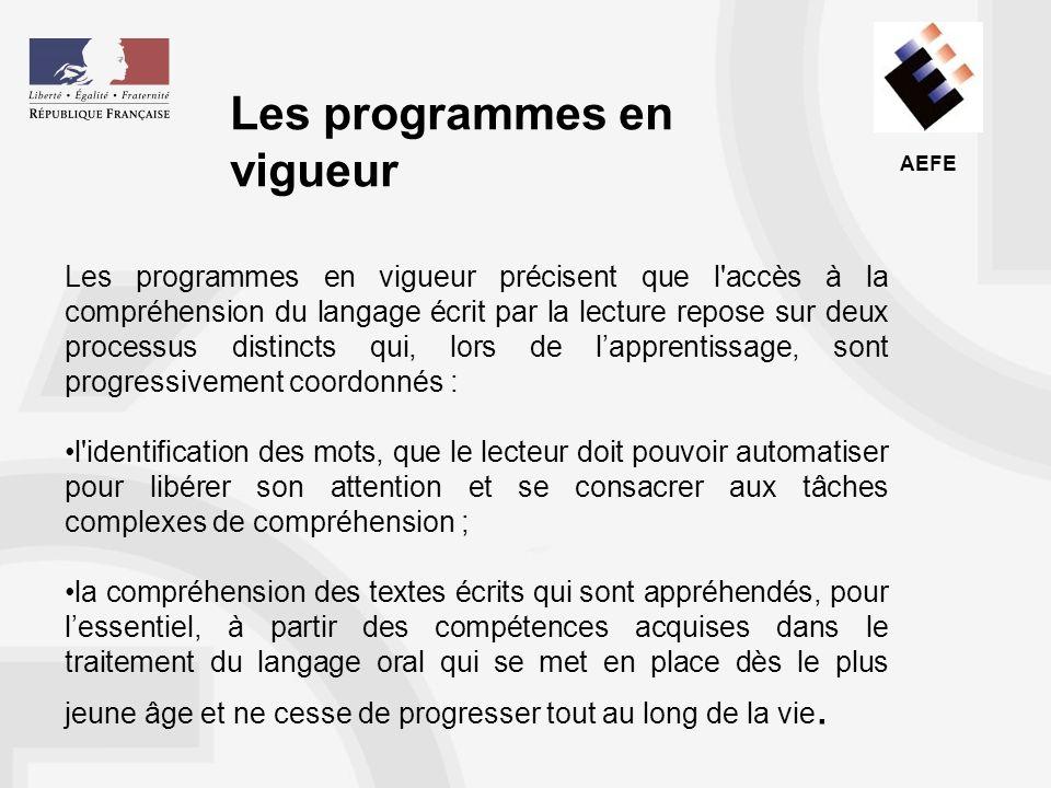 Les programmes en vigueur