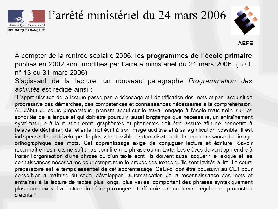 l'arrêté ministériel du 24 mars 2006
