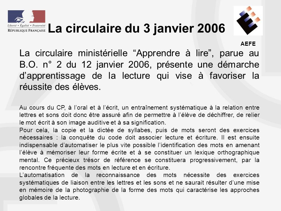 La circulaire du 3 janvier 2006