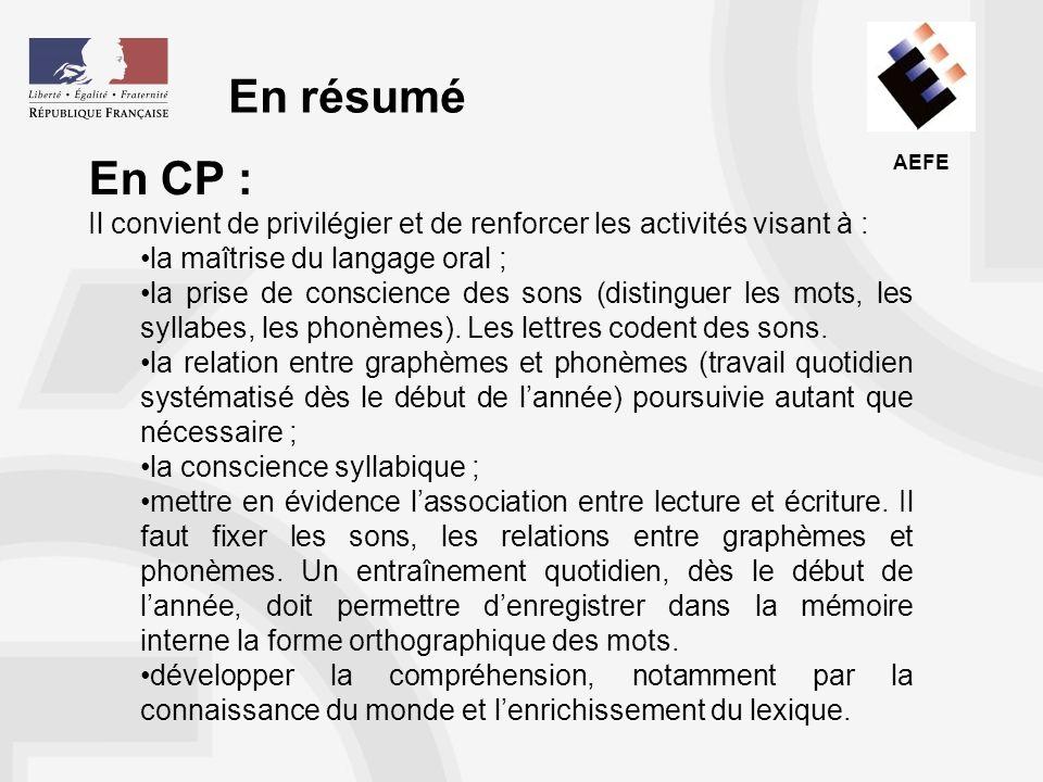En résumé En CP : Il convient de privilégier et de renforcer les activités visant à : la maîtrise du langage oral ;