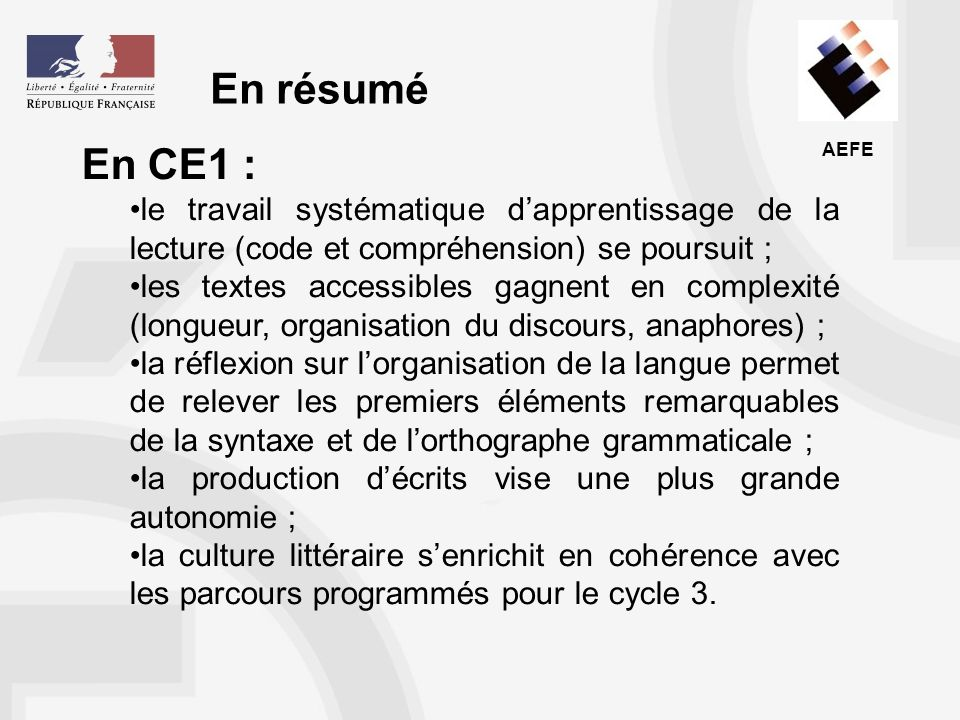 En résumé En CE1 : le travail systématique d'apprentissage de la lecture (code et compréhension) se poursuit ;