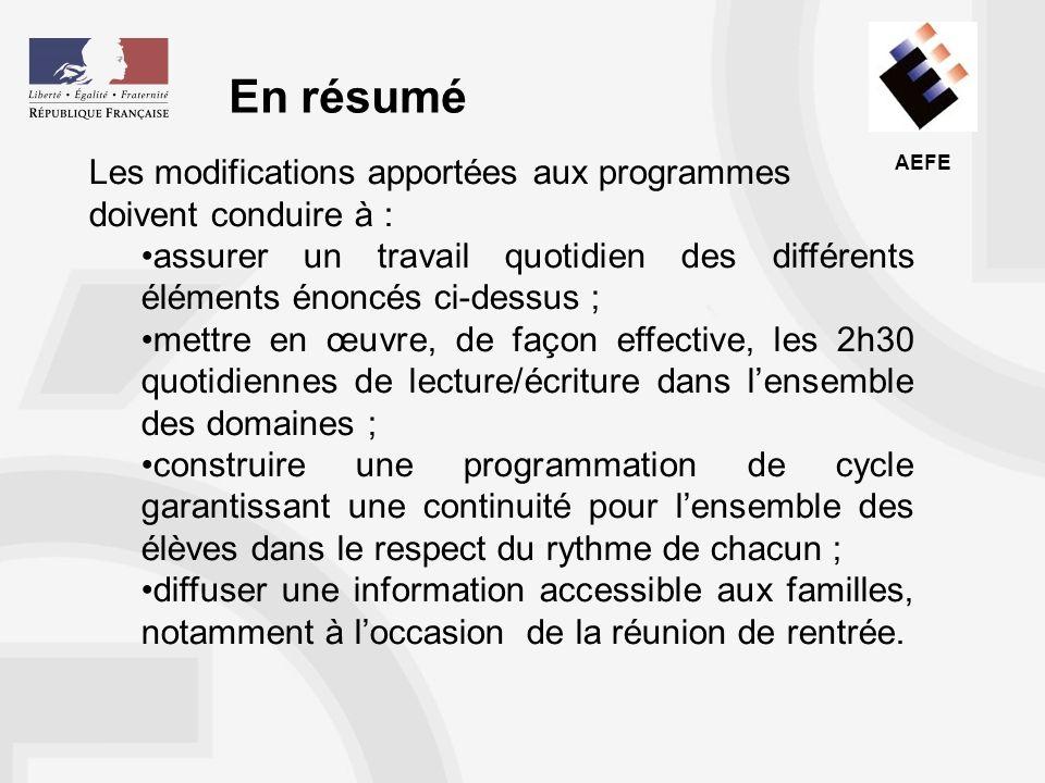 En résumé Les modifications apportées aux programmes doivent conduire à : assurer un travail quotidien des différents éléments énoncés ci-dessus ;