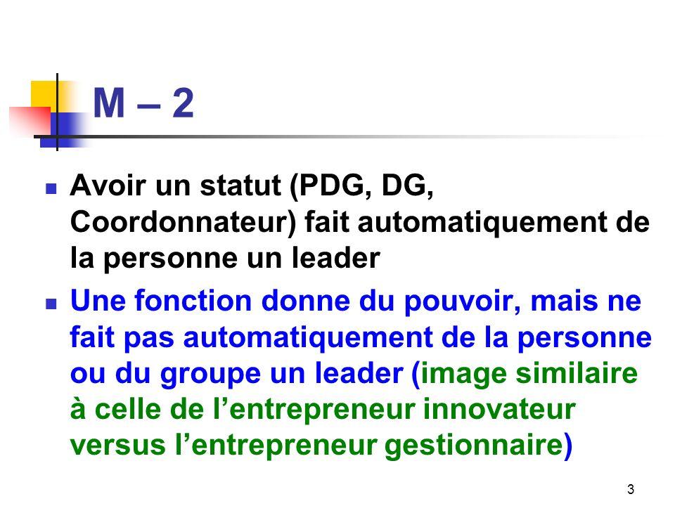 M – 2 Avoir un statut (PDG, DG, Coordonnateur) fait automatiquement de la personne un leader.