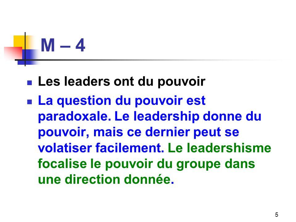 M – 4 Les leaders ont du pouvoir