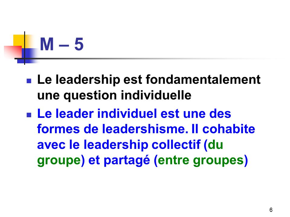 M – 5 Le leadership est fondamentalement une question individuelle
