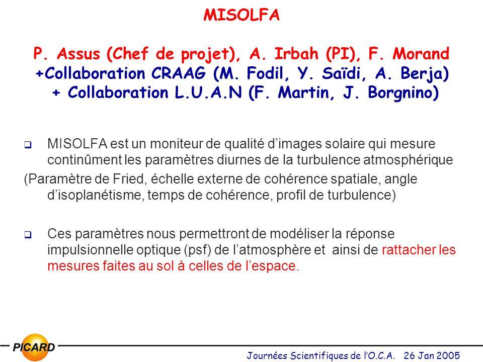 MISOLFA P. Assus (Chef de projet), A. Irbah (PI), F