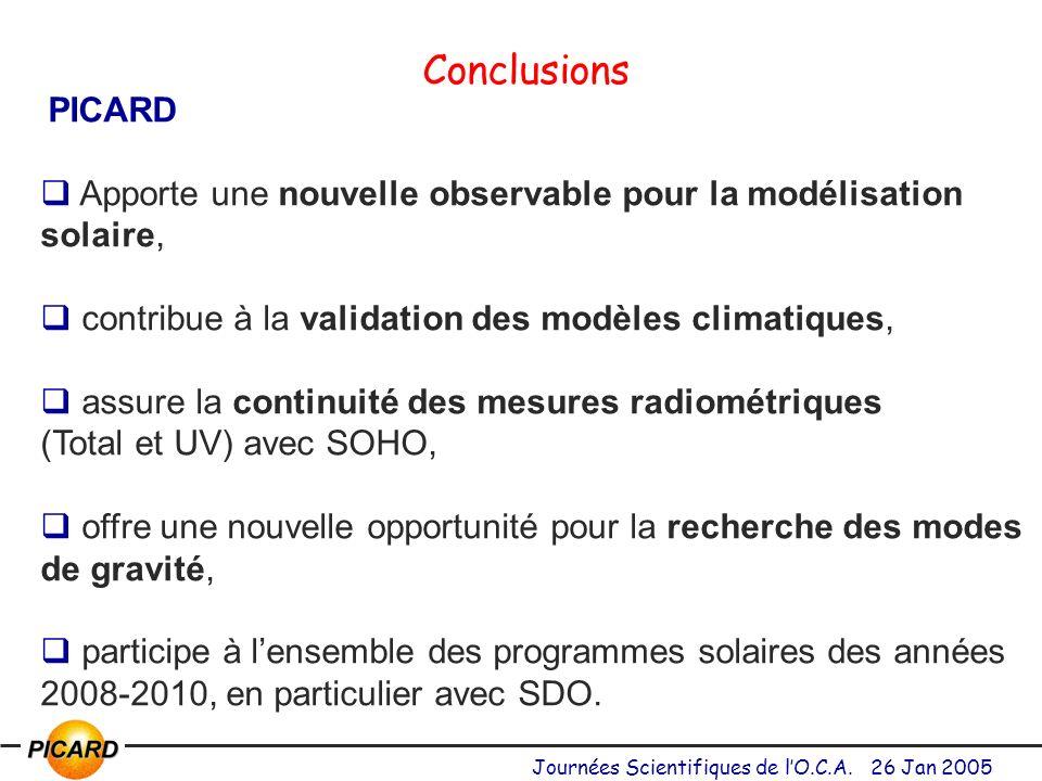 Conclusions PICARD. Apporte une nouvelle observable pour la modélisation solaire, contribue à la validation des modèles climatiques,