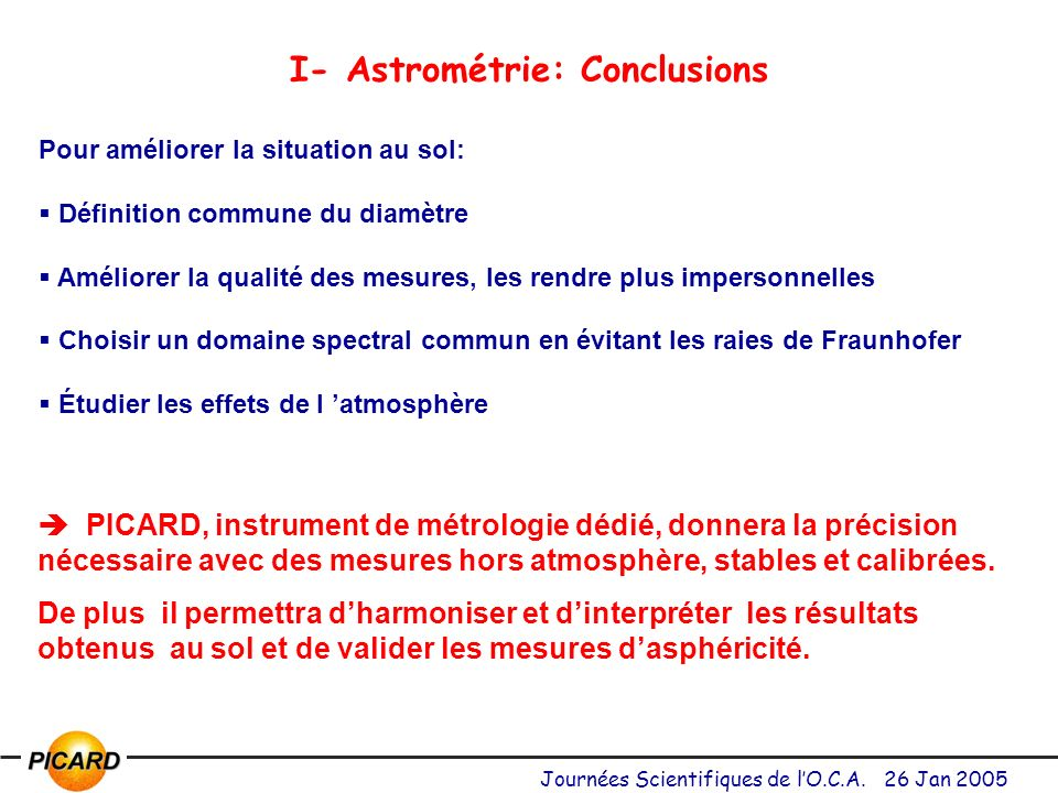 I- Astrométrie: Conclusions