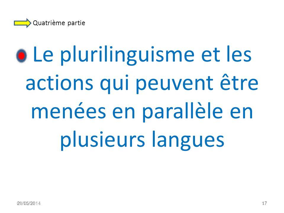 Quatrième partie Le plurilinguisme et les actions qui peuvent être menées en parallèle en plusieurs langues.