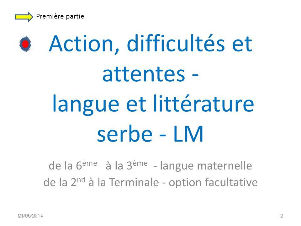 Action, difficultés et attentes - langue et littérature serbe - LM