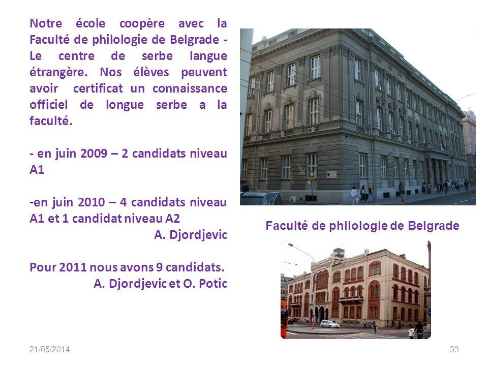 - en juin 2009 – 2 candidats niveau A1