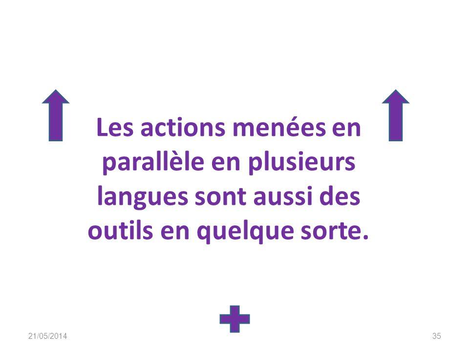 Les actions menées en parallèle en plusieurs langues sont aussi des outils en quelque sorte.