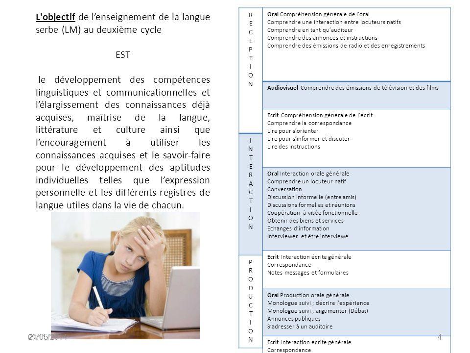 L objectif de l'enseignement de la langue serbe (LM) au deuxième cycle