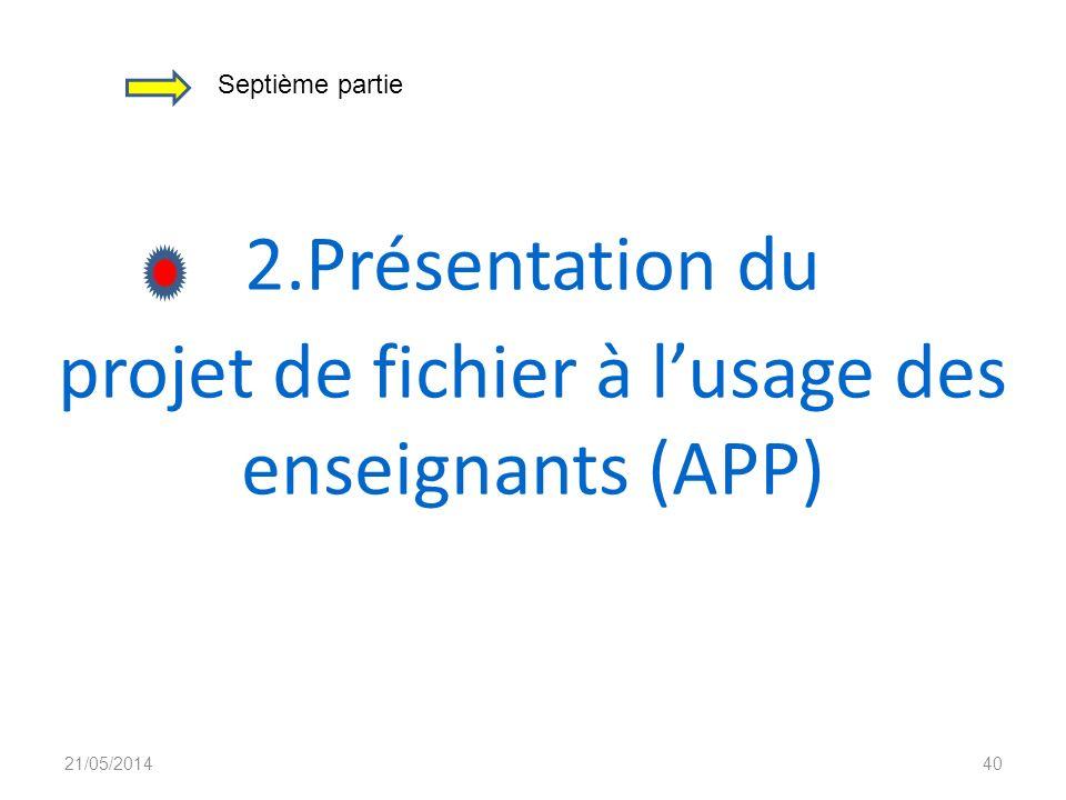 projet de fichier à l'usage des enseignants (APP)