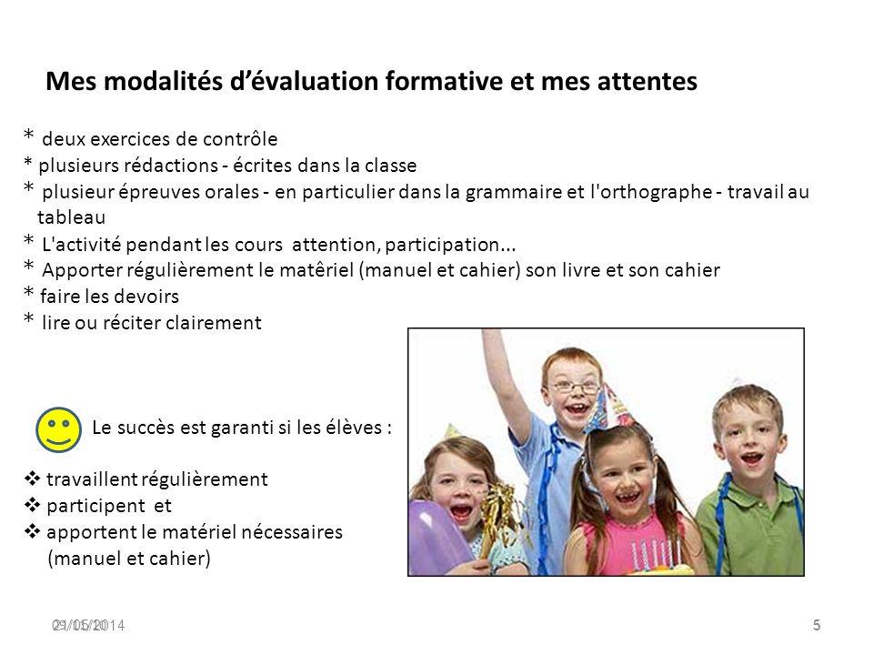 Mes modalités d'évaluation formative et mes attentes