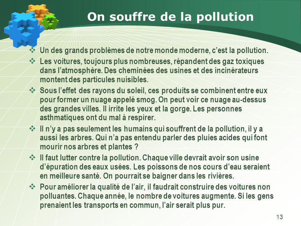 On souffre de la pollution