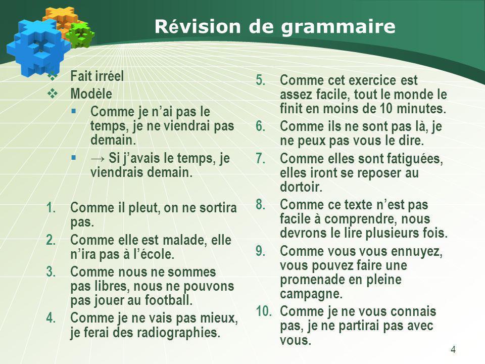 Révision de grammaire Fait irréel
