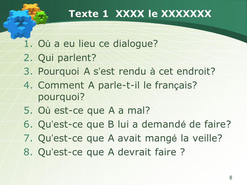 Texte 1 XXXX le XXXXXXX Où a eu lieu ce dialogue Qui parlent Pourquoi A s'est rendu à cet endroit