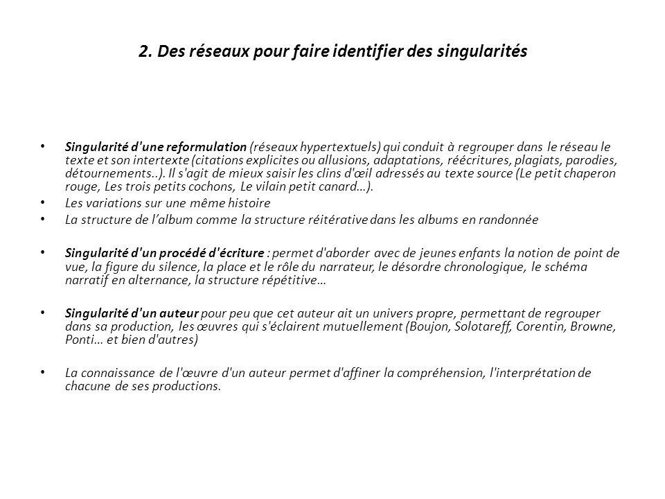 2. Des réseaux pour faire identifier des singularités