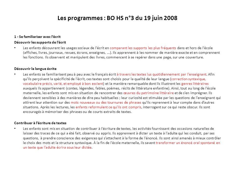 Les programmes : BO HS n°3 du 19 juin 2008