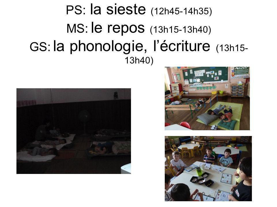PS: la sieste (12h45-14h35) MS: le repos (13h15-13h40) GS: la phonologie, l'écriture (13h15-13h40)