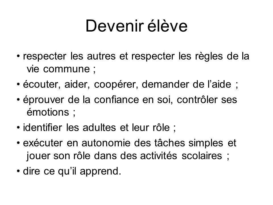 Devenir élève • respecter les autres et respecter les règles de la vie commune ; • écouter, aider, coopérer, demander de l'aide ;