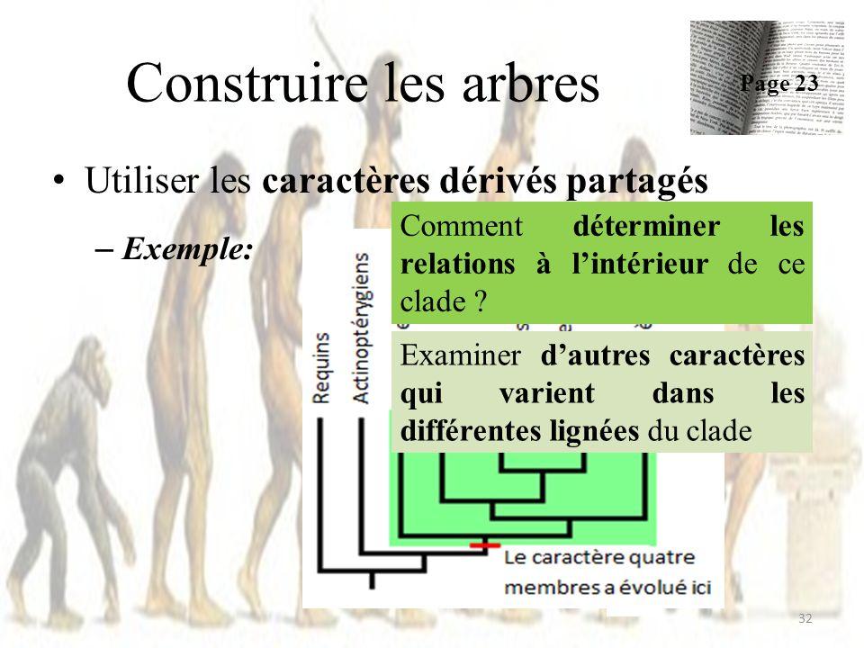 Construire les arbres Utiliser les caractères dérivés partagés