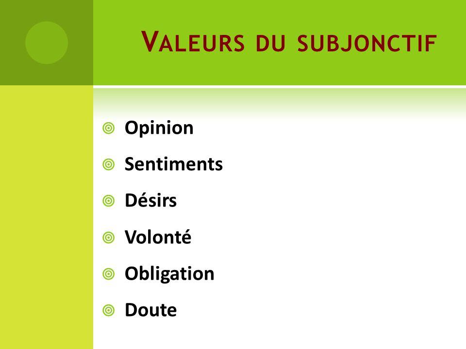 Valeurs du subjonctif Opinion Sentiments Désirs Volonté Obligation