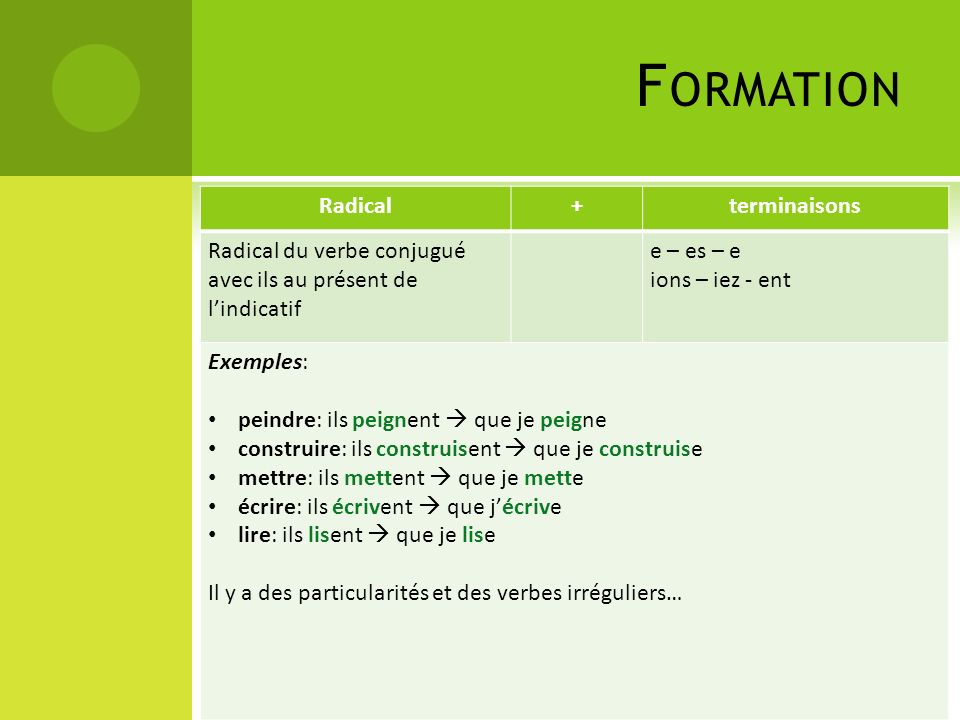 Formation Radical + terminaisons