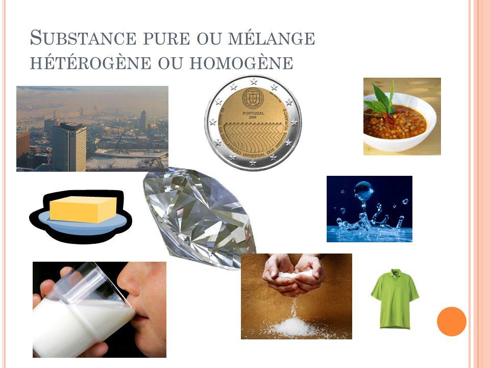Substance pure ou mélange hétérogène ou homogène