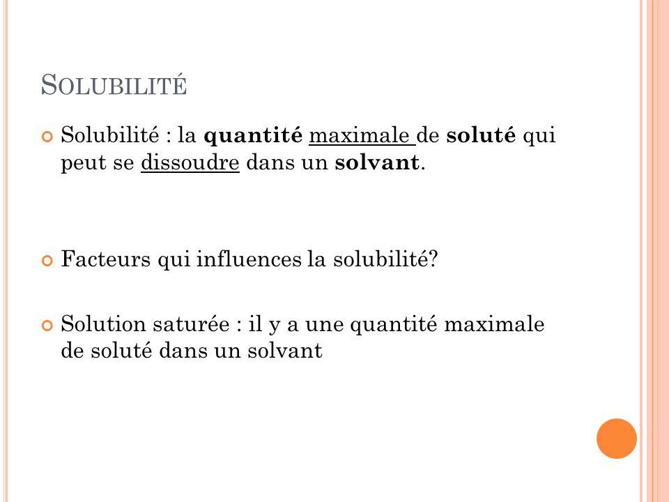 Solubilité Solubilité : la quantité maximale de soluté qui peut se dissoudre dans un solvant. Facteurs qui influences la solubilité