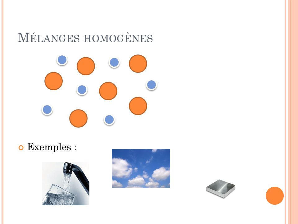 Mélanges homogènes Exemples :