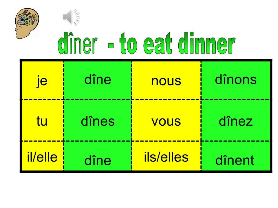 dîner - to eat dinner je nous tu vous il/elle ils/elles dîne dînons
