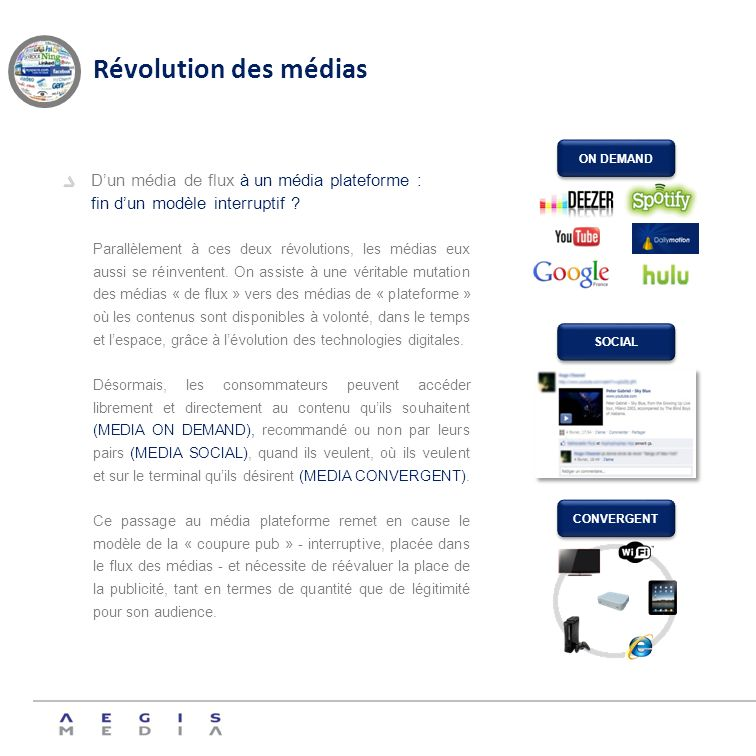 Révolution des médias ON DEMAND. D'un média de flux à un média plateforme : fin d'un modèle interruptif