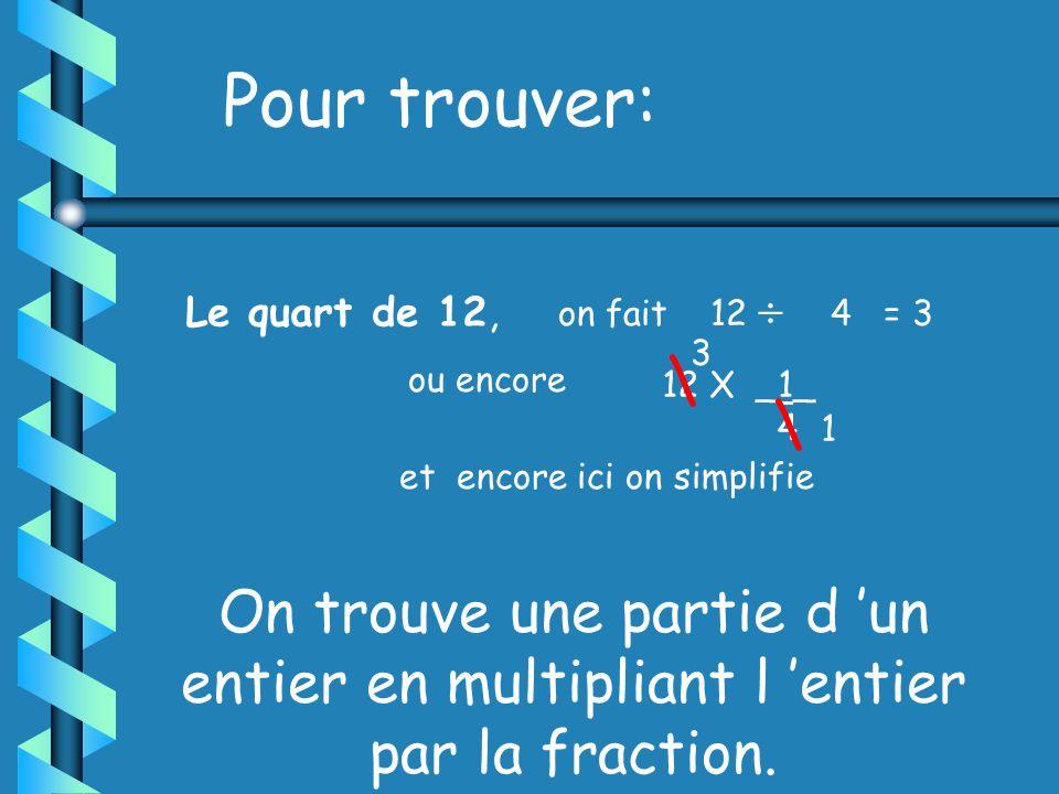 Pour trouver: on fait 12  4 = 3. Le quart de 12, 3. \ ou encore. 12 X _1_. 4. \ 1. et encore ici on simplifie.