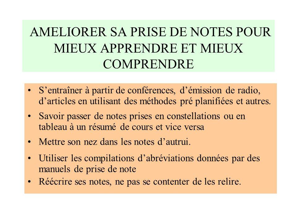 AMELIORER SA PRISE DE NOTES POUR MIEUX APPRENDRE ET MIEUX COMPRENDRE