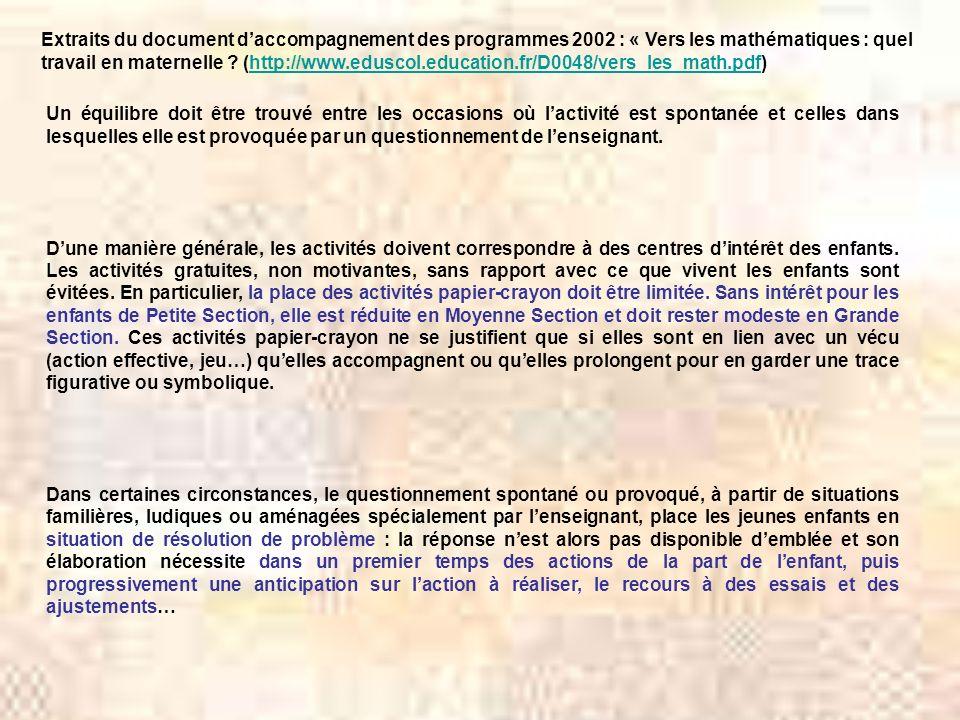 Extraits du document d'accompagnement des programmes 2002 : « Vers les mathématiques : quel travail en maternelle (http://www.eduscol.education.fr/D0048/vers_les_math.pdf)