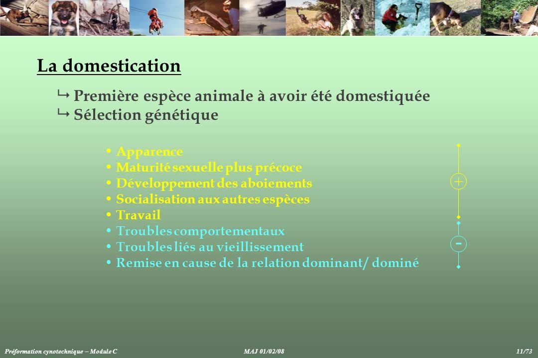 - La domestication Première espèce animale à avoir été domestiquée