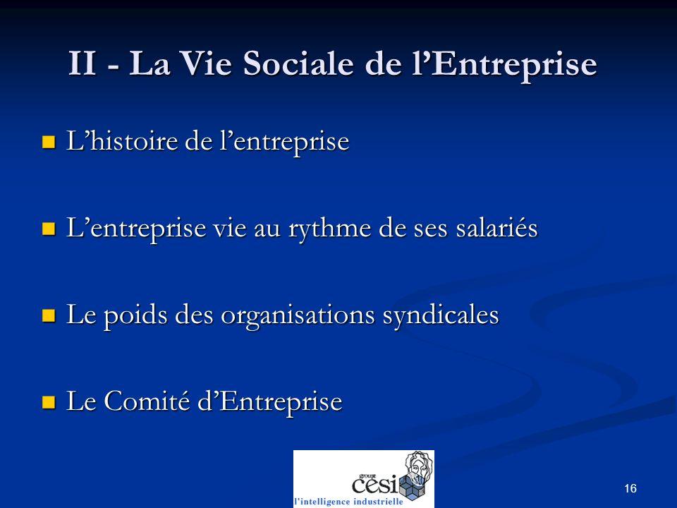 II - La Vie Sociale de l'Entreprise