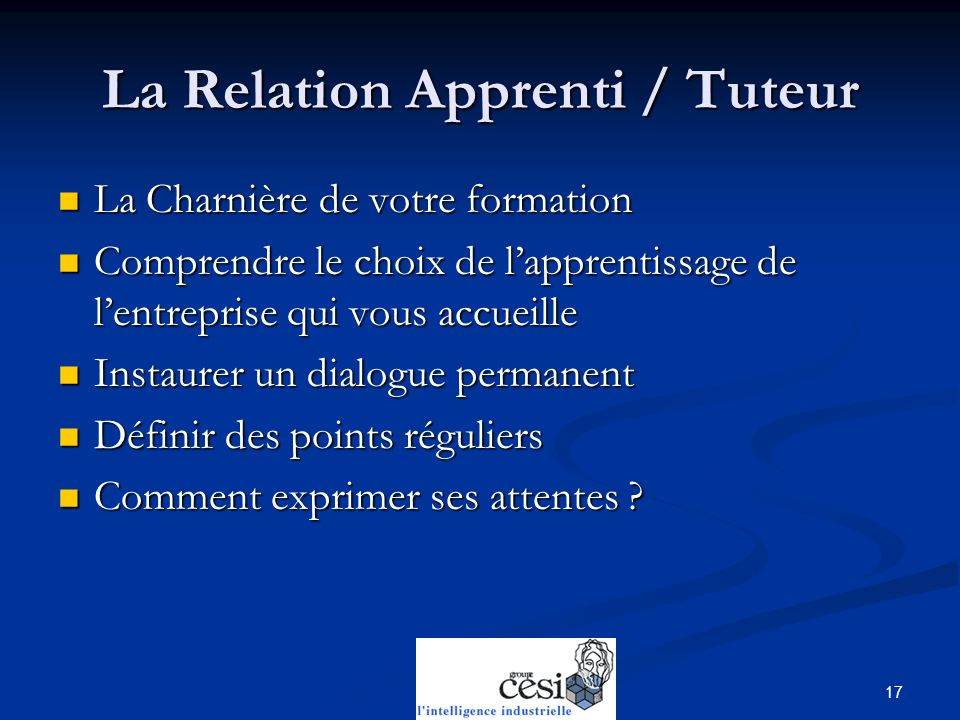La Relation Apprenti / Tuteur