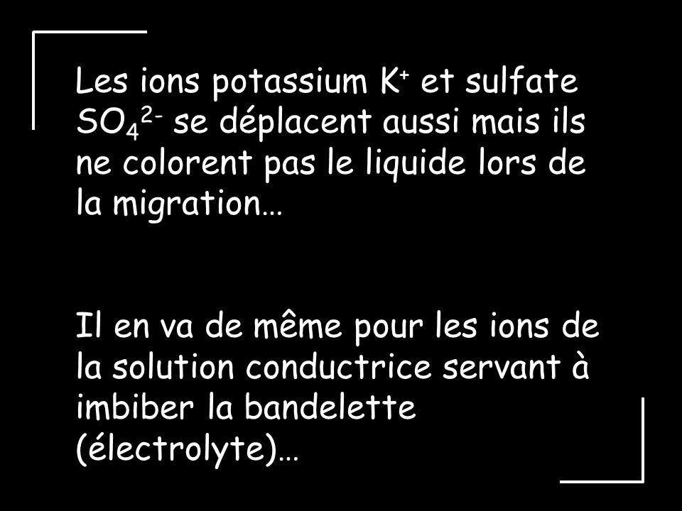 Les ions potassium K+ et sulfate SO42- se déplacent aussi mais ils ne colorent pas le liquide lors de la migration…