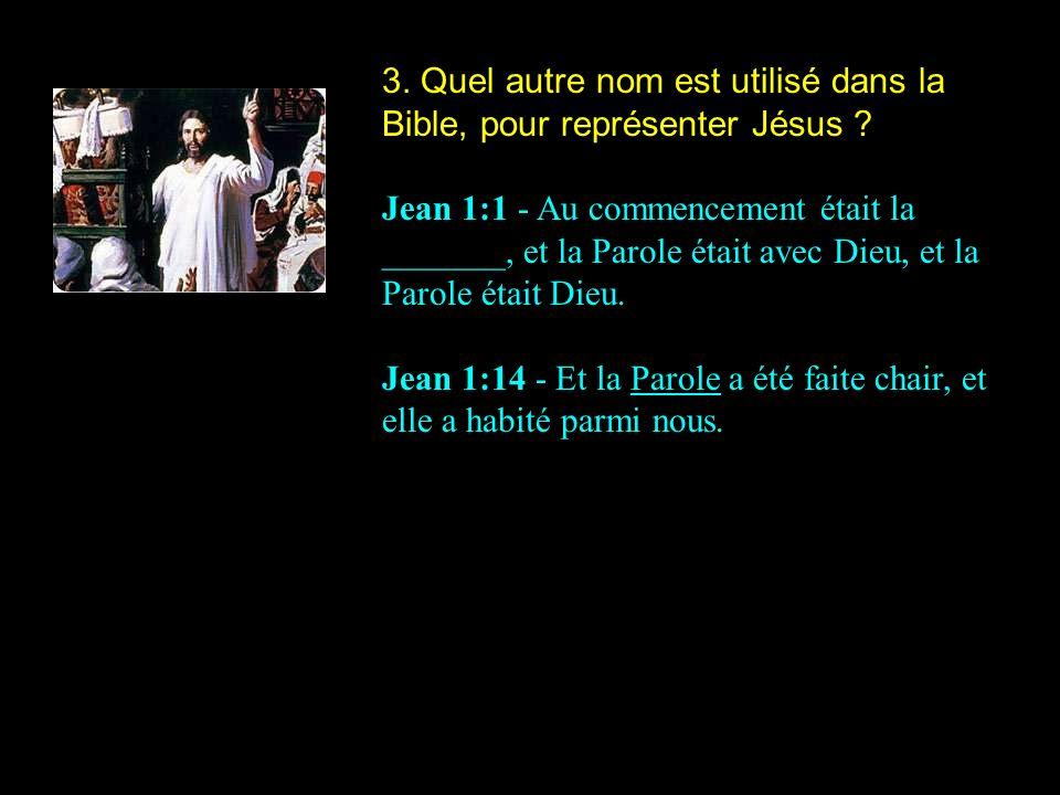 3. Quel autre nom est utilisé dans la Bible, pour représenter Jésus