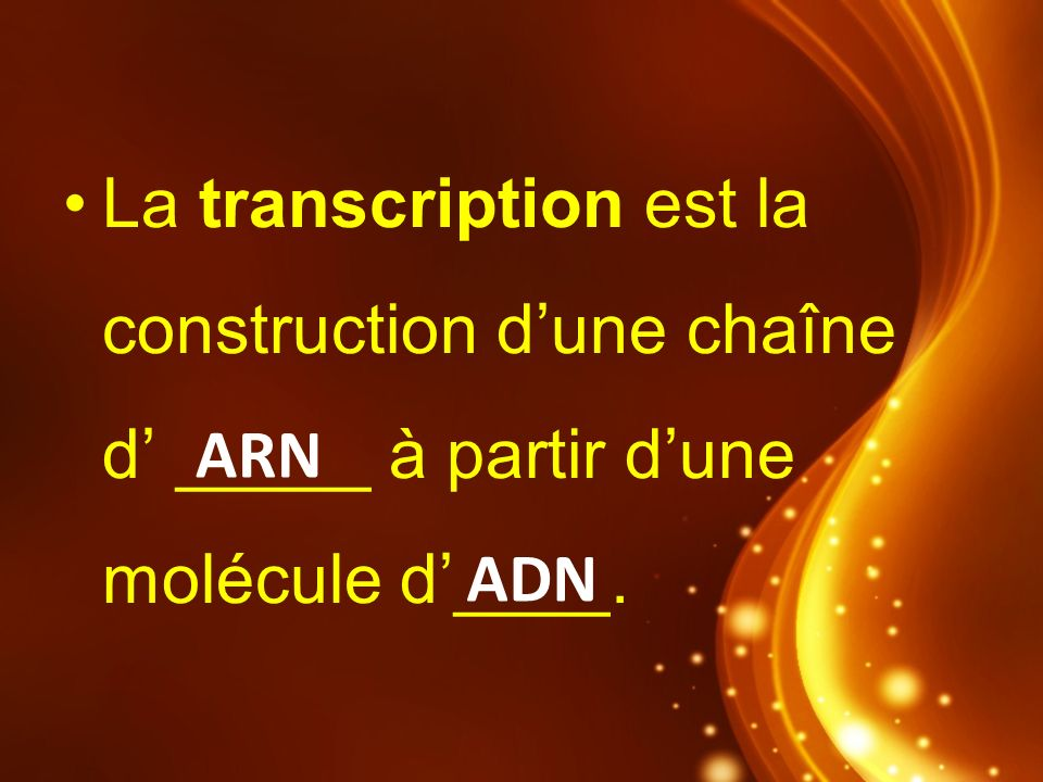 La transcription est la construction d'une chaîne d' _____ à partir d'une molécule d'____.