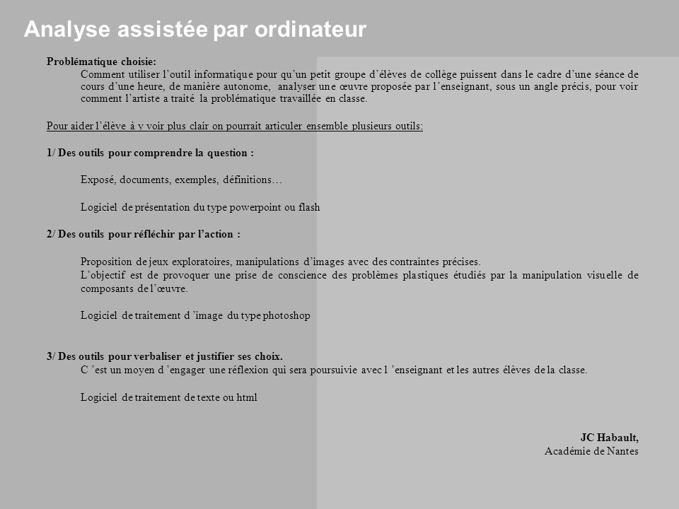 Analyse assistée par ordinateur