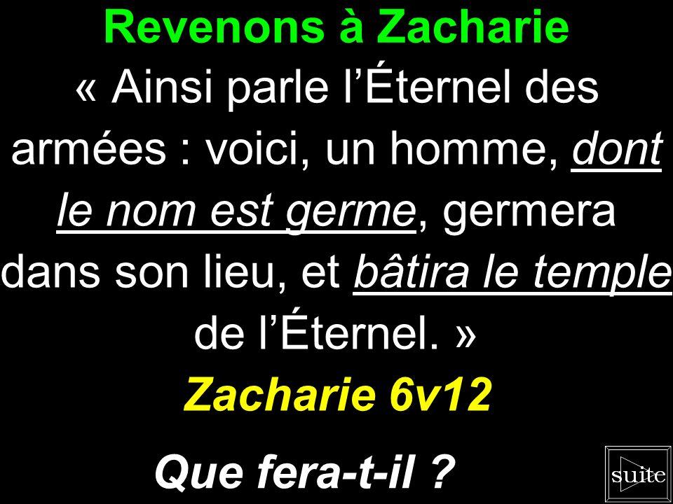 Revenons à Zacharie Zacharie 6v12 Que fera-t-il