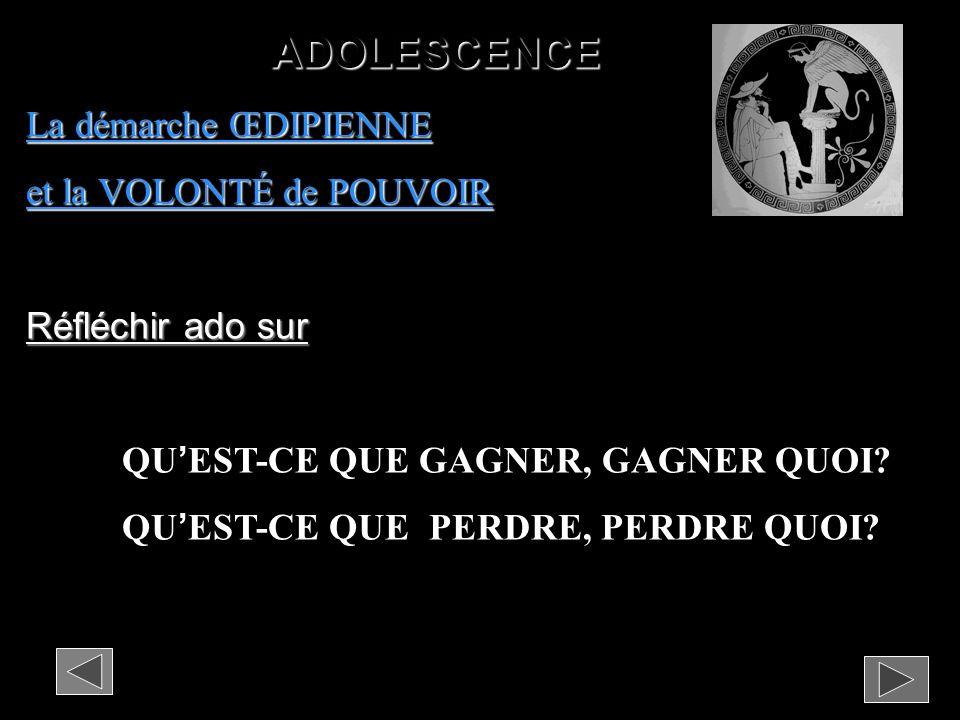 ADOLESCENCE La démarche ŒDIPIENNE et la VOLONTÉ de POUVOIR