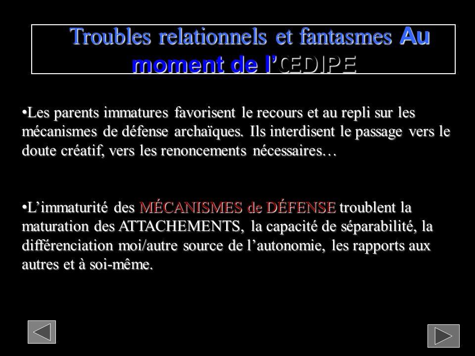 Troubles relationnels et fantasmes Au moment de l'ŒDIPE