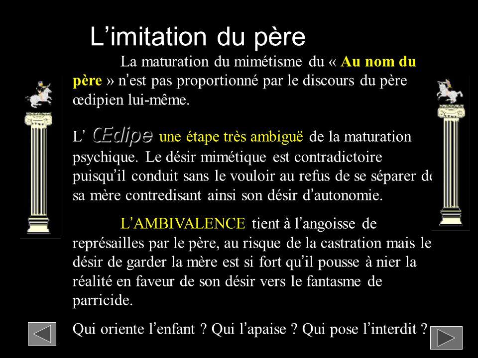 L'imitation du père La maturation du mimétisme du « Au nom du père » n'est pas proportionné par le discours du père œdipien lui-même.